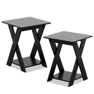 Furinno Modern Simplistic Espresso Criss-Crossed End Table (Set of 2) by Furinno