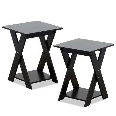 Modern Simplistic Espresso Criss-Crossed End Table (Set of  2)