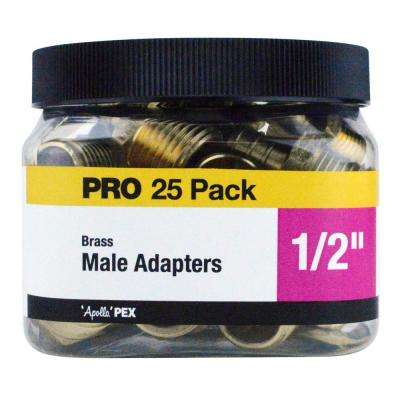 1/2 in. Brass PEX Barb x Male Pipe Thread Adapter Jar (25-Pack)