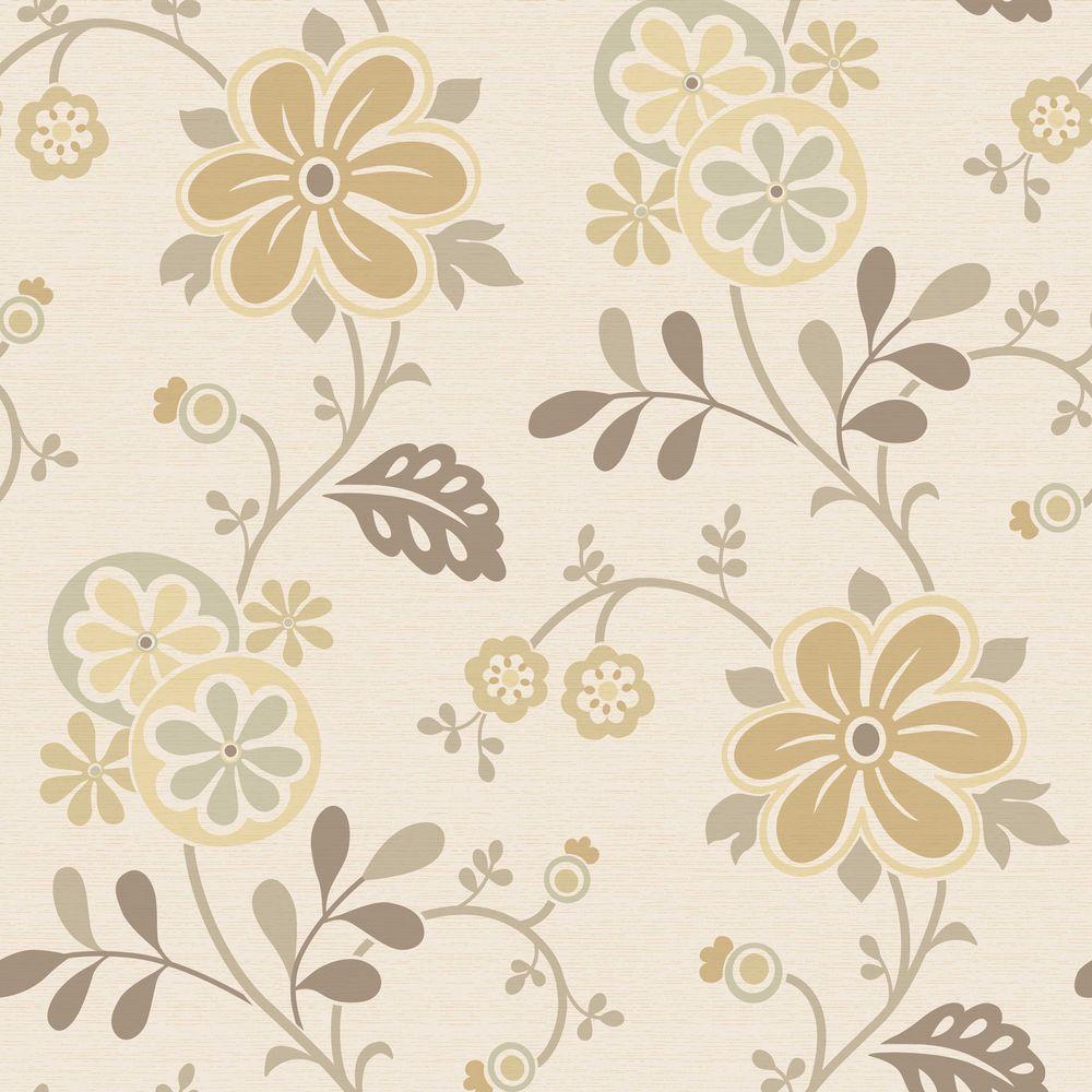 Amelie Beige Modern Floral Trail Wallpaper Sample