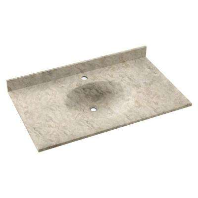 Ellipse 37 in. W x 22 in. D Solid Surface Vanity Top with Sink in Mountain Haze