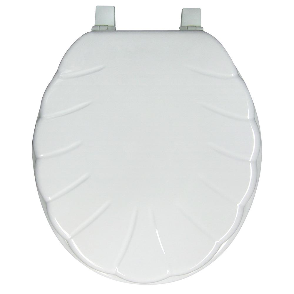 Spotless Bath Ginsey Round Closed Front Shell Molded Wood Toilet Seat In White