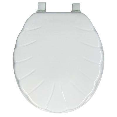 Ginsey Round Closed Front Shell Molded Wood Toilet Seat in White