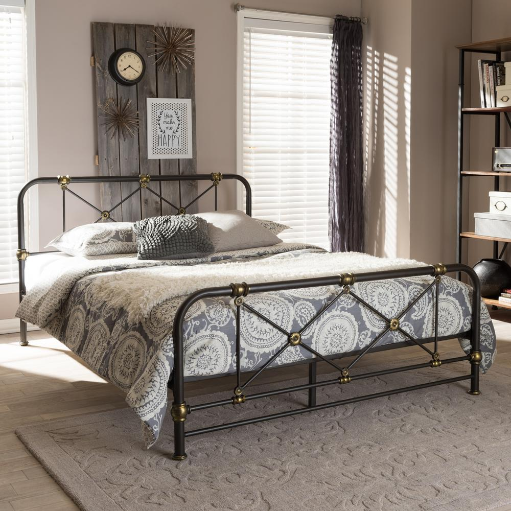baxton studio beatrice vintage industrial black finished metal queen size platform bed
