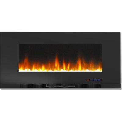 42 in. Wall-Mount Electric Fireplace in Black with Multi-Color Flames and Crystal Rock Display