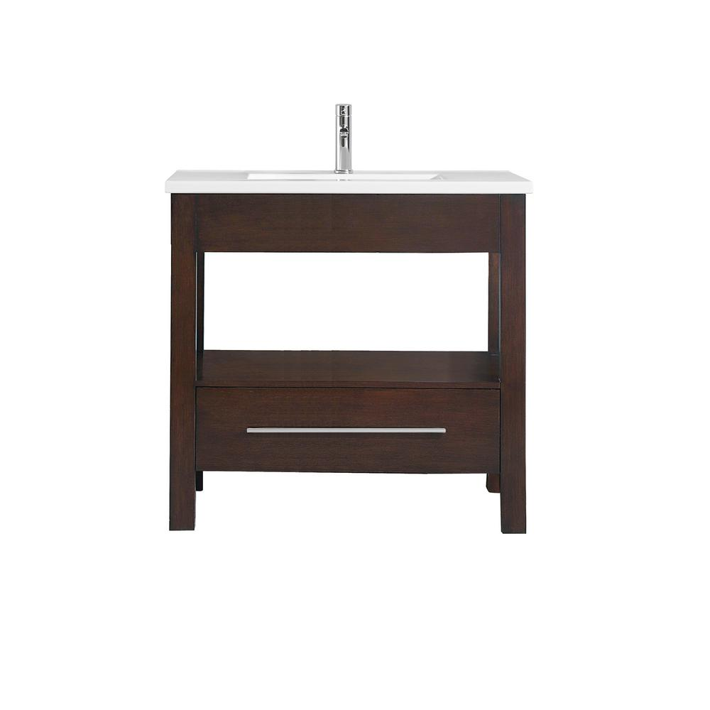 Azzuri Cityloft 37 in. W x 22 in. D x 35 in. H Vanity in Light Espresso with Integrated Vitreous China Vanity Top in White