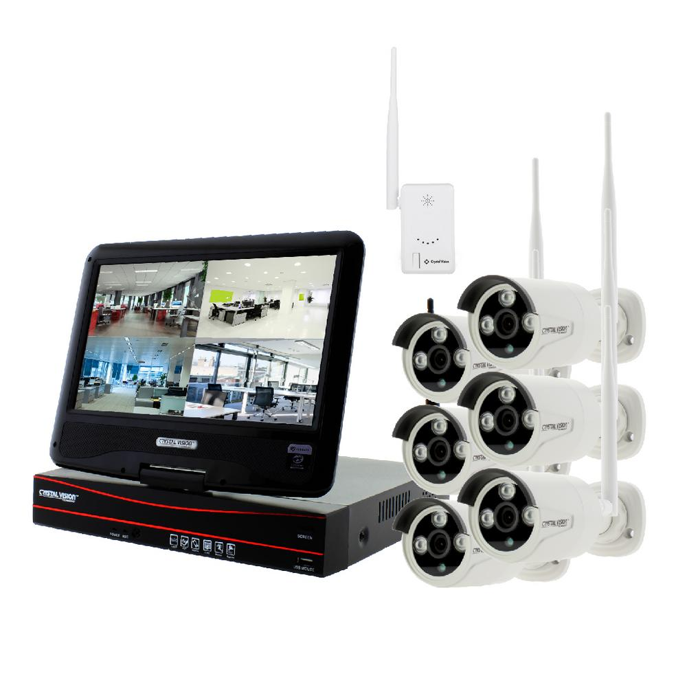 Crystal Vision 8-Channel True HD 2TB HDD Wireless CCTV with 6-Autopair Weatherproof IR Cameras Built-In Monitor and Router