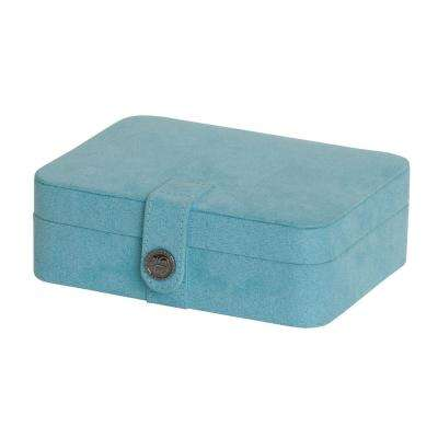 Giana Aqua Plush Fabric Jewelry Box