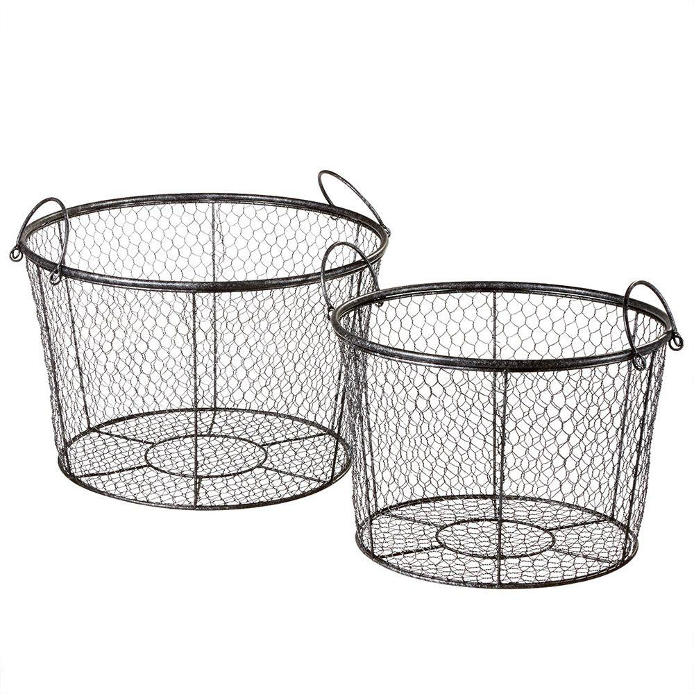 Filament Design Sundry 19.75 in. x 19.75 in. Wire Decorative Basket (Set of 2)