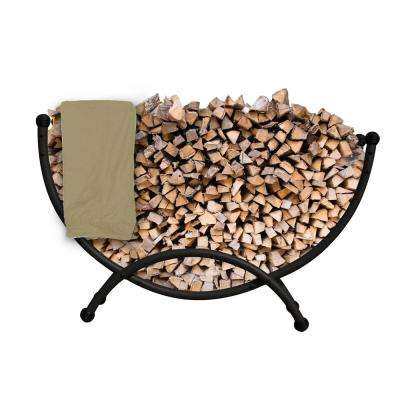 Deluxe Steel Firewood Storage Half Circle Steel 5 ft. Firewood Rack with Polyester Cover