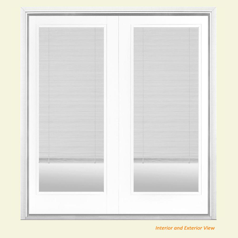 Masonite 72 in. x 80 in. Ultra White Fiberglass Prehung Left-Hand Inswing Mini Blind Patio Door with Brickmold
