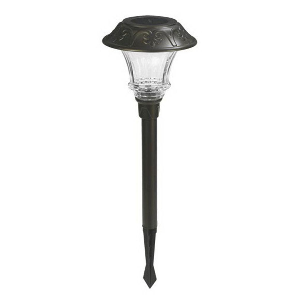 Solar Powered Charcoal Brown Outdoor LED Pathway Light (4-Pack)