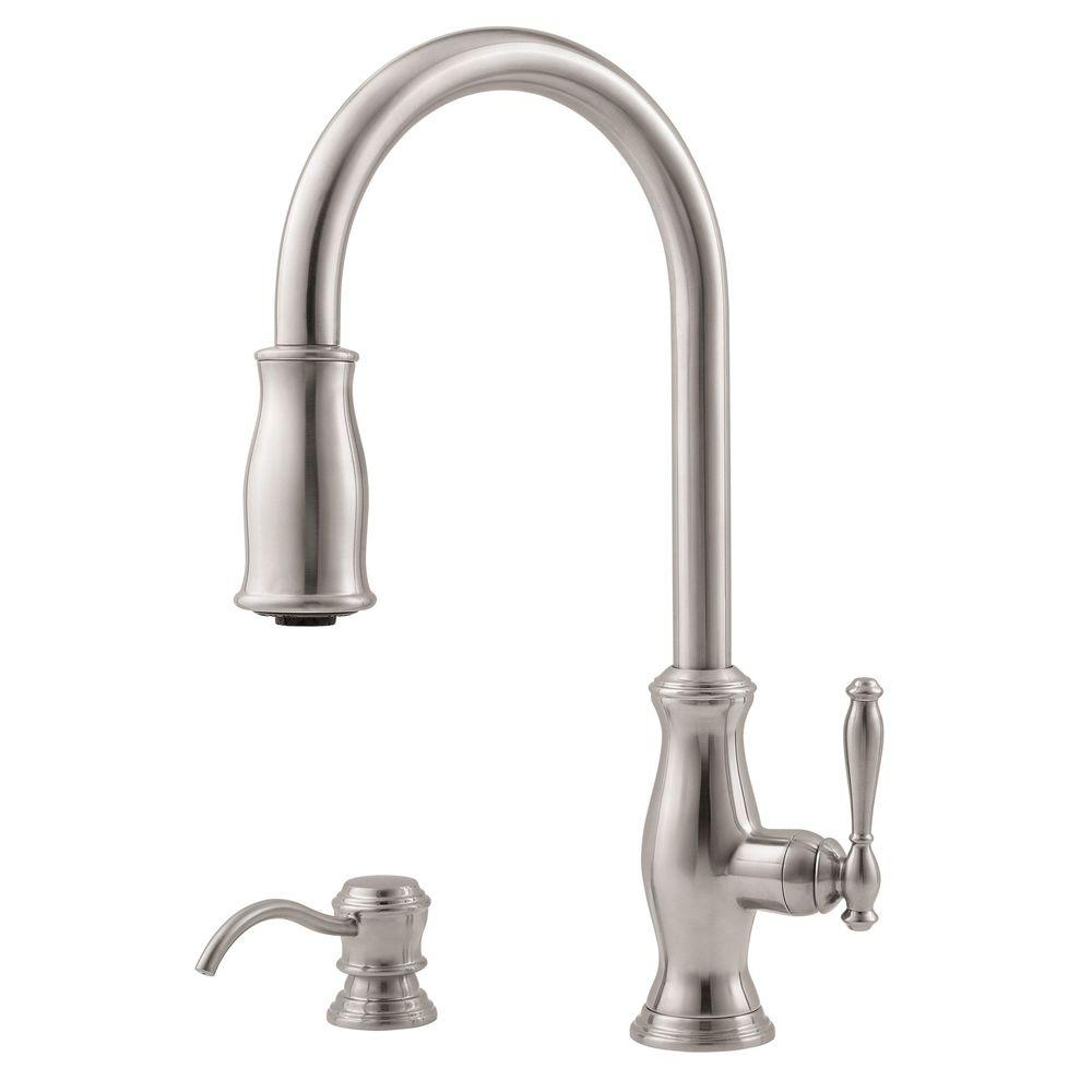 Pfister hanover single handle pull down sprayer kitchen faucet in stainless steel