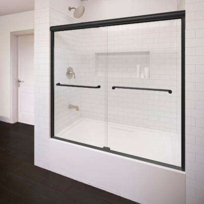 Infinity 58.5 in. x 57 in. Semi-Frameless Sliding AquaGlideXP Clear Glass Tub Door in Wrought Iron with Towel Bar