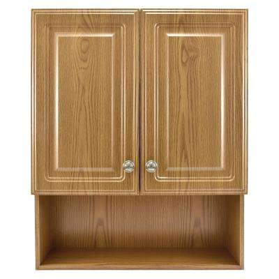 23-1/8 in. W x 27-7/8 in. H Framed Surface-Mount Bathroom Medicine Cabinet in Oak