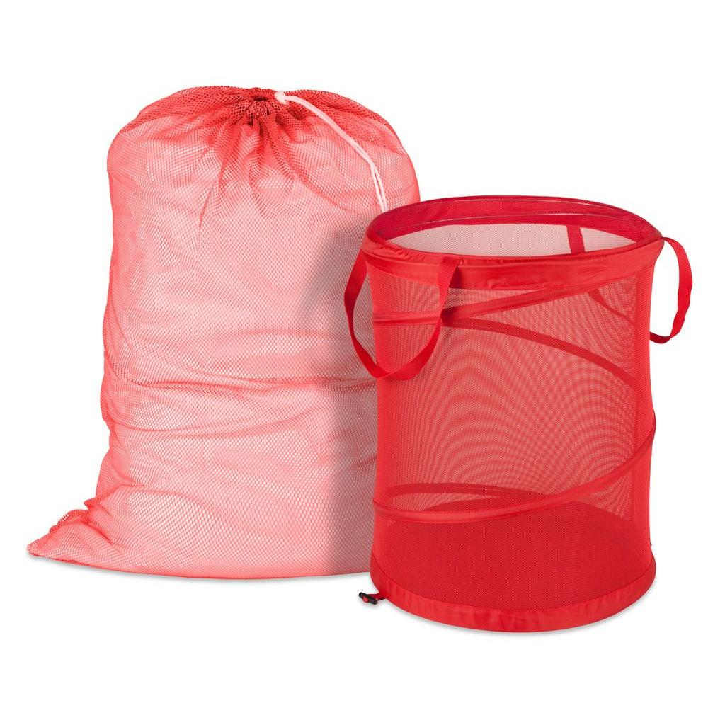 Honey-Can-Do Mesh Laundry Bag and Hamper Kit in Red