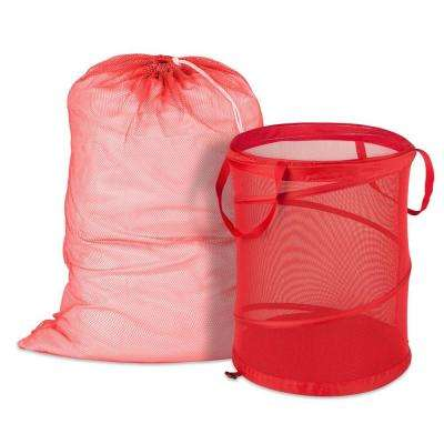 Mesh Laundry Bag and Hamper Kit in Red