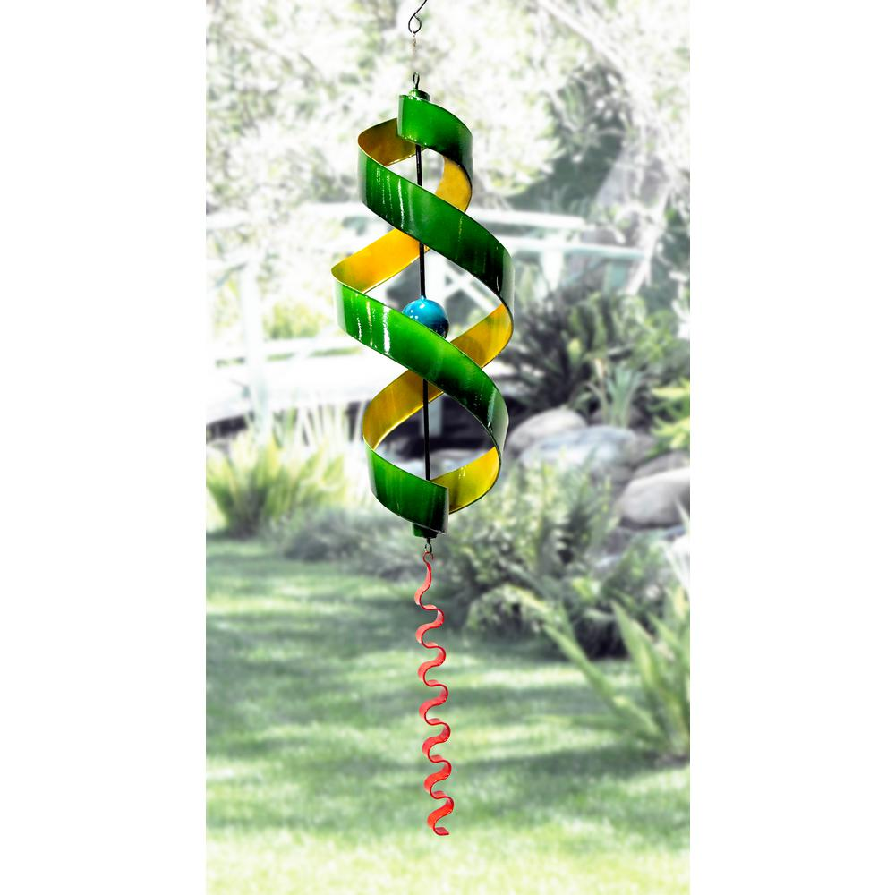 Alpine Corporation 34 in. Yellow and Green Swirl Metal Decor with Red Tail