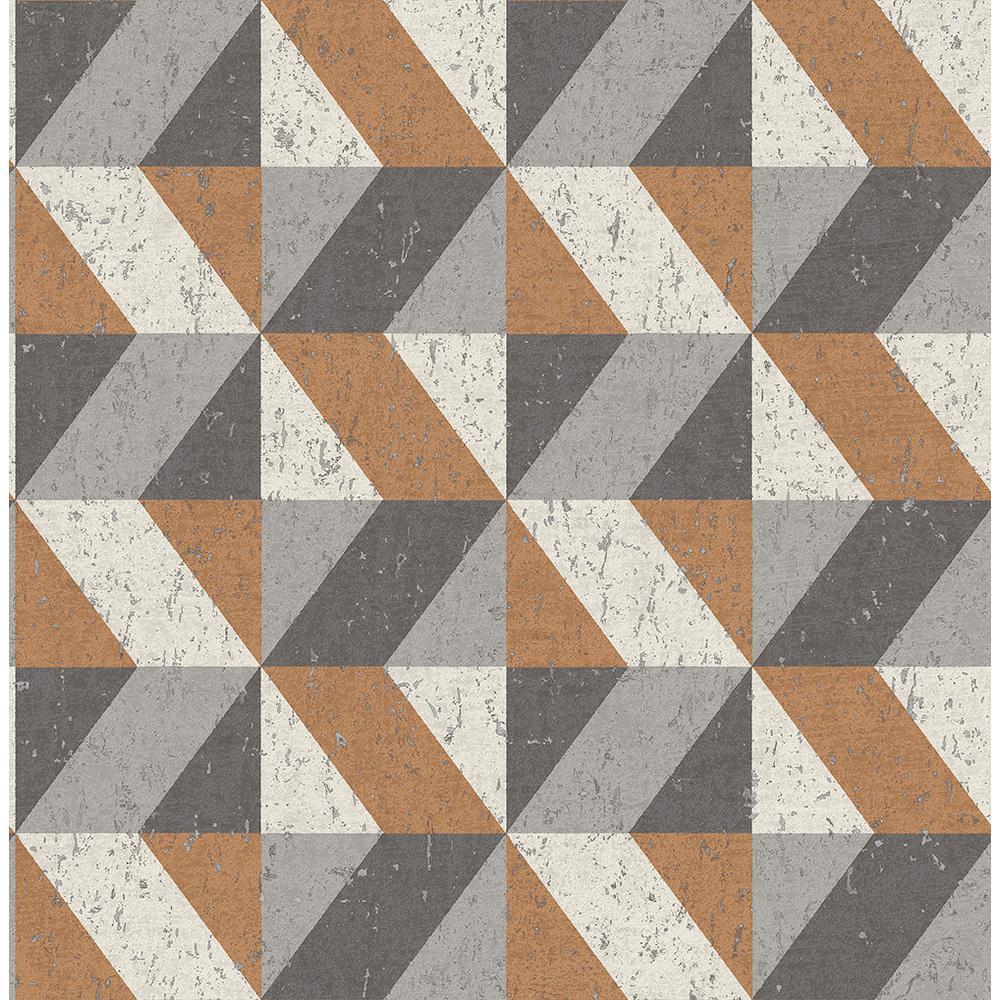 56.4 sq. ft. Cerium Copper Concrete Geometric Wallpaper