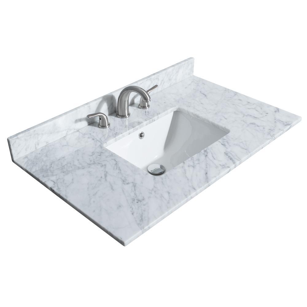 Deborah 36 in. W x 22 in. D Marble Single Basin Vanity Top in White with White Basin