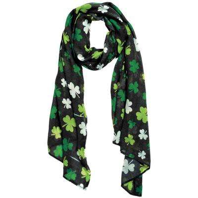 Green Polyester Shamrock St. Patrick's Day Scarf (2-Pack)