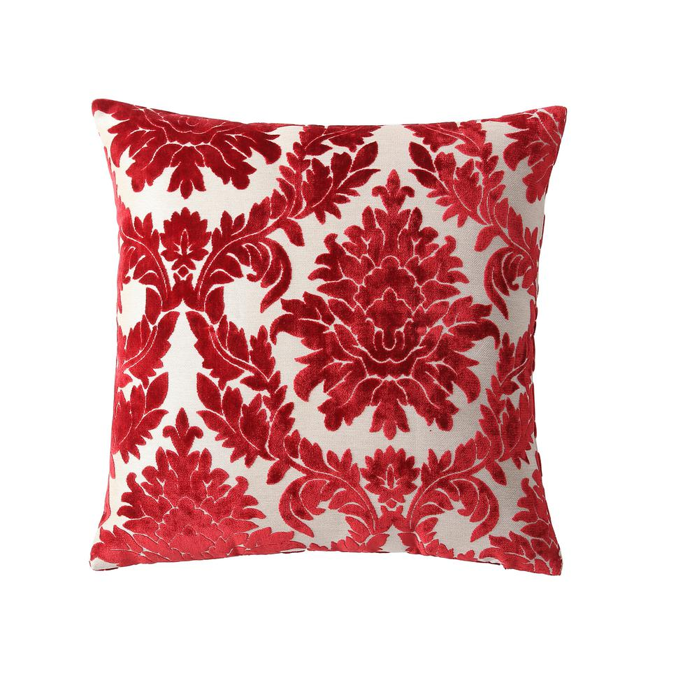 Morgan Home Red Damask 18 in Throw Pillow Cover