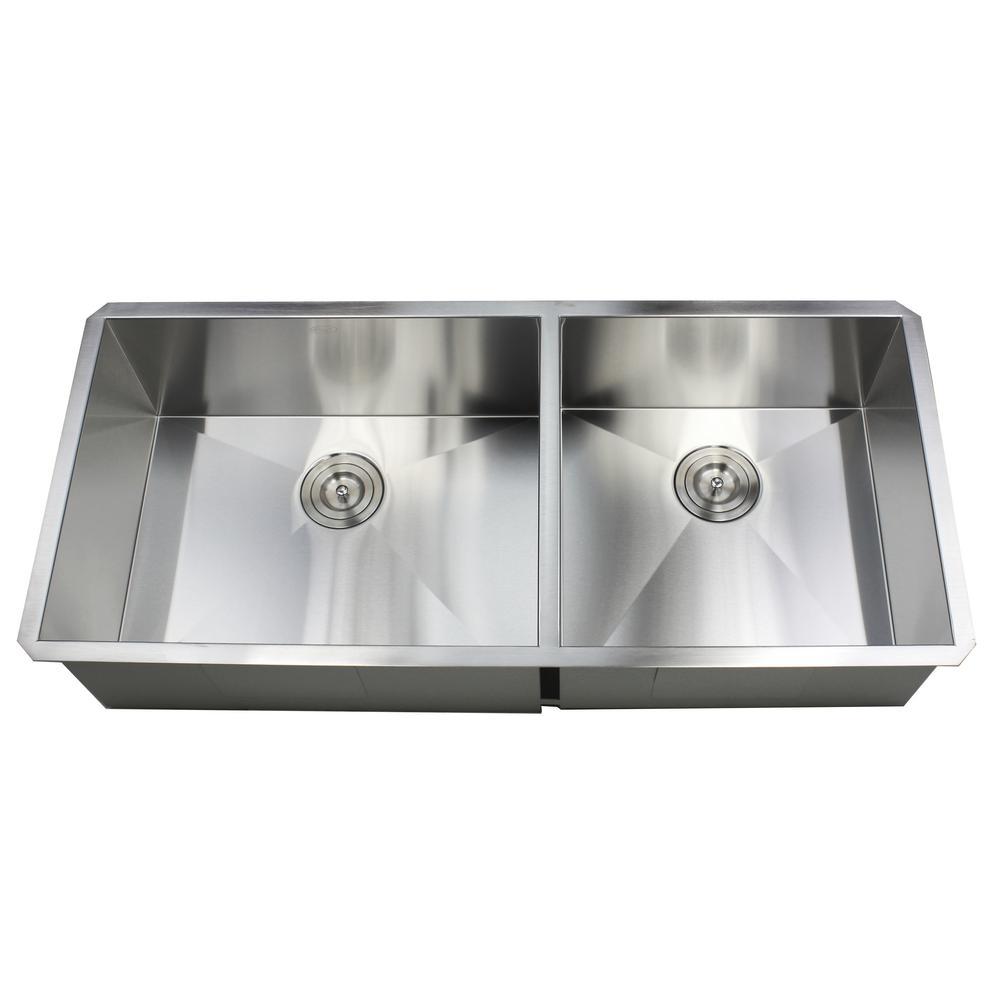 Undermount 42 in. x 20 in. x 10 in. Deep Stainless Steel 16-Gauge Double Bowl 60/40 Zero Radius Kitchen Sink