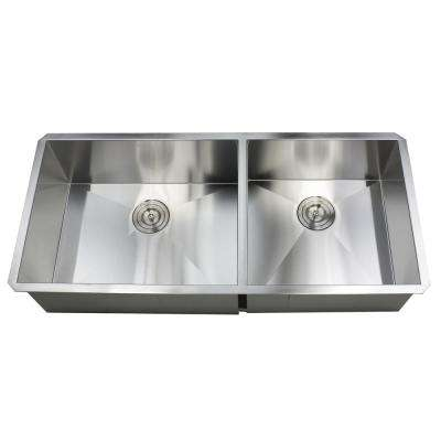 Undermount 42 in. x 20 in. x 10 in. Deep Stainless Steel 16-Gauge Double Bowl 60/40 Zero Radius Kitchen Sink