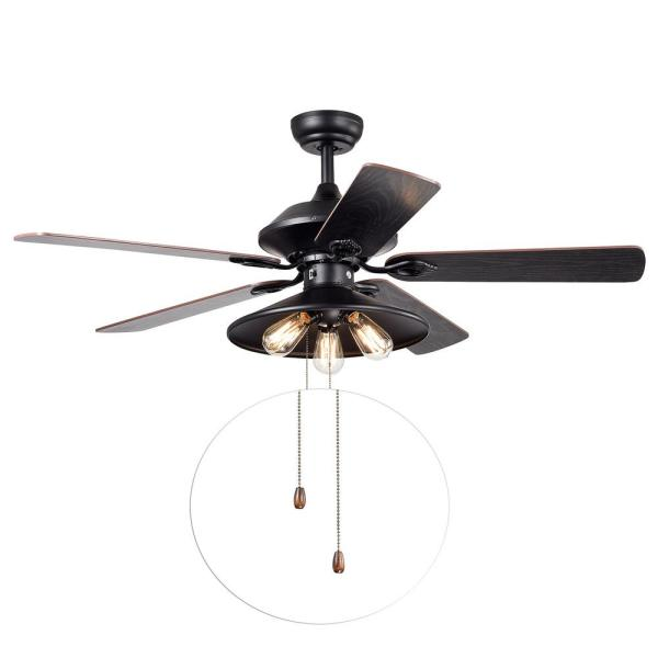 Upille 52 in. Black Indoor Remote Controlled Ceiling Fan with Light Kit