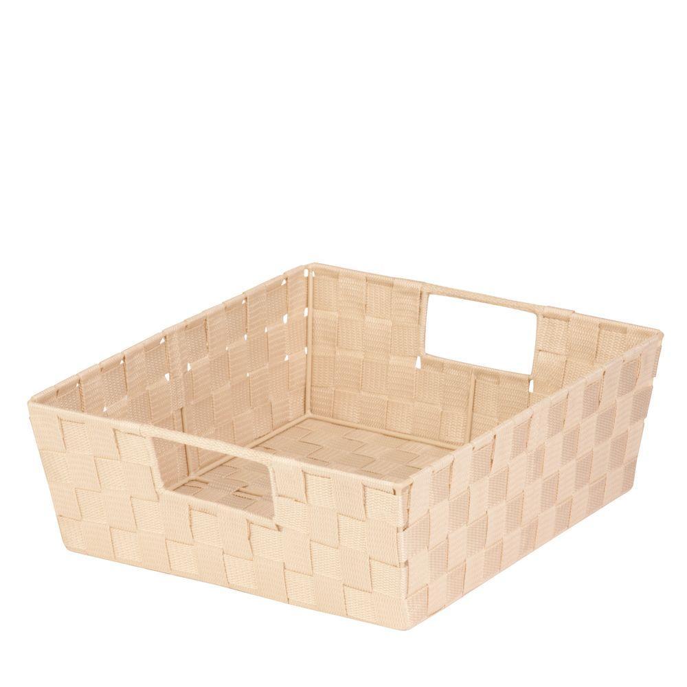 16.9 Qt. 15 in. x 5 in. Storage Tote Bin in Creme (2-Pack)