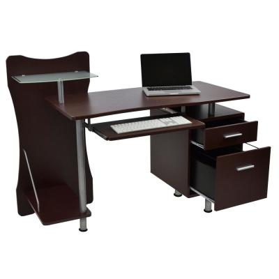 52 in. Rectangular Chocolate 2 Drawer Computer Desk with Keyboard Tray