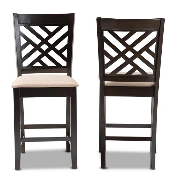 Baxton Studio Caron 43 in. Sand Brown and Espresso Bar Stool