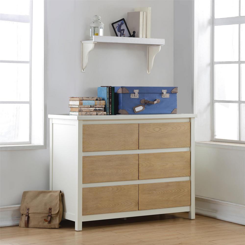 Dorel blaine 6 drawer wheat white dresser fa1009 1tdv for Blaine storage