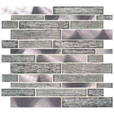 Volcanic Luxe Interlocking 11.73 in. x 11.61 in. x 8mm Glass Metal Mesh-Mounted Mosaic Tile