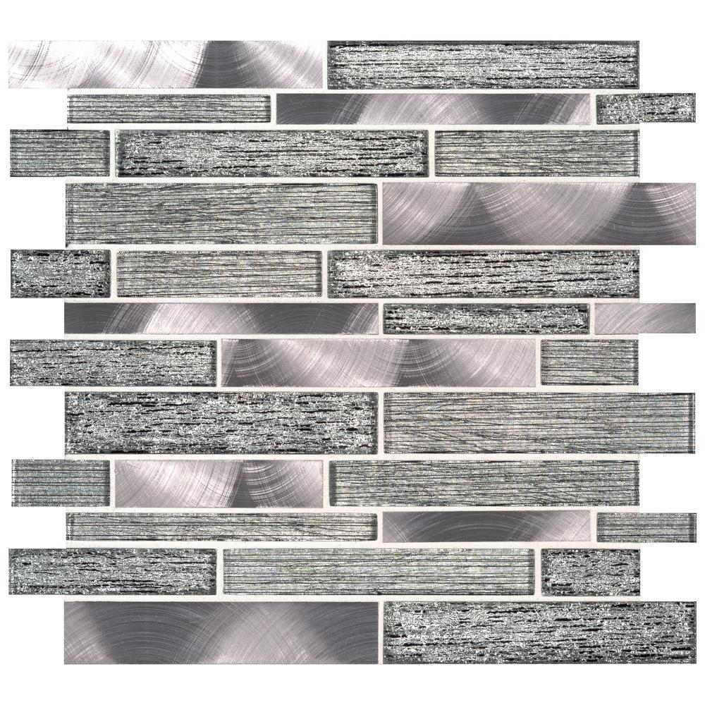 Msi Volcanic Luxe Interlocking 11 73 In X 11 61 In X 8mm Glass Metal Mesh Mounted Mosaic Tile 9 5 Sq Ft Case