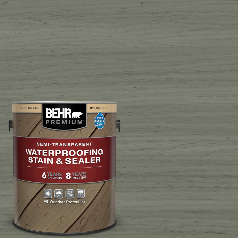 BEHR Premium 1 gal. #ST-137 Drift Gray Semi-Transparent Waterproofing Exterior Wood Stain and Sealer