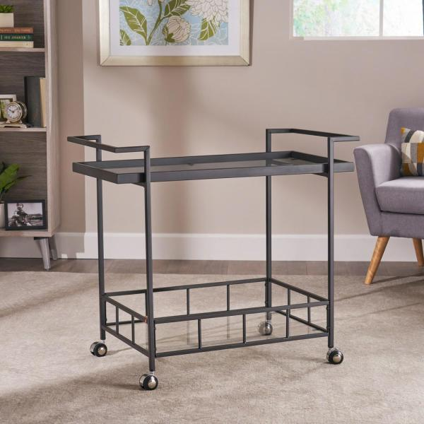 Ambrose Black Bar Cart with Tempered Glass Shelves