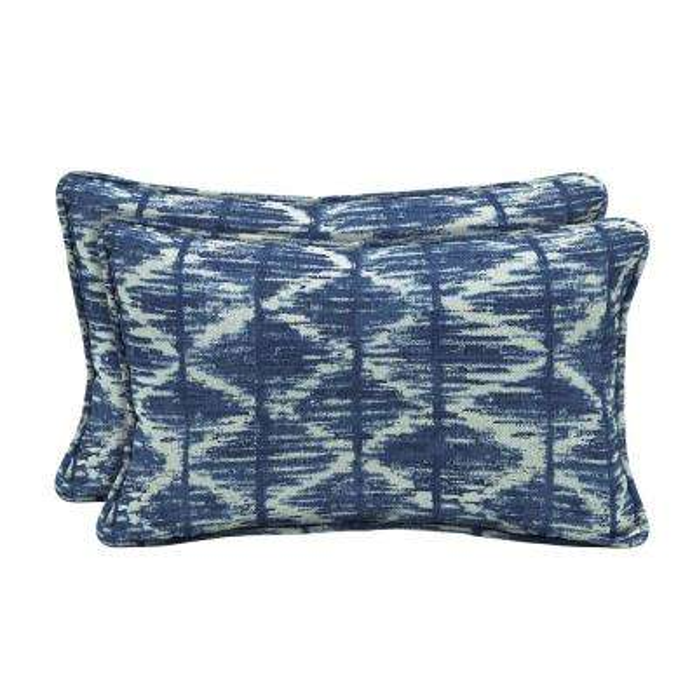 Sunbrella Chelston Cobalt Lumbar Outdoor Throw Pillow (2-Pack)