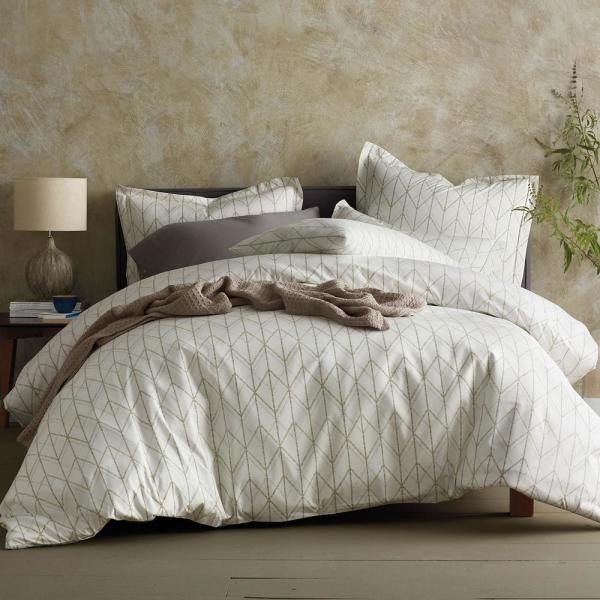 The Company Store Dotted Geo Organic Cotton Percale King Duvet Cover