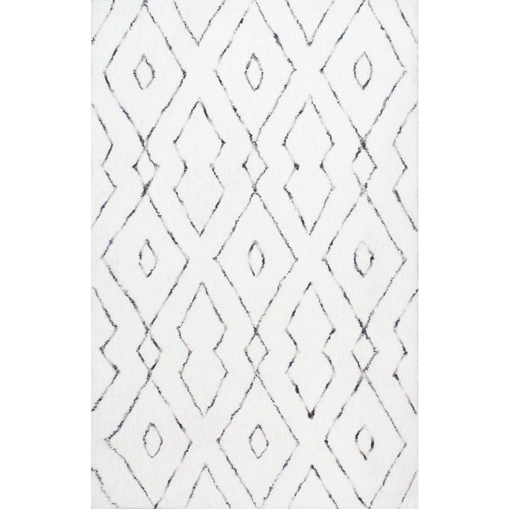 Beaulah Geometric Shag White 8 ft. x 10 ft. Area Rug