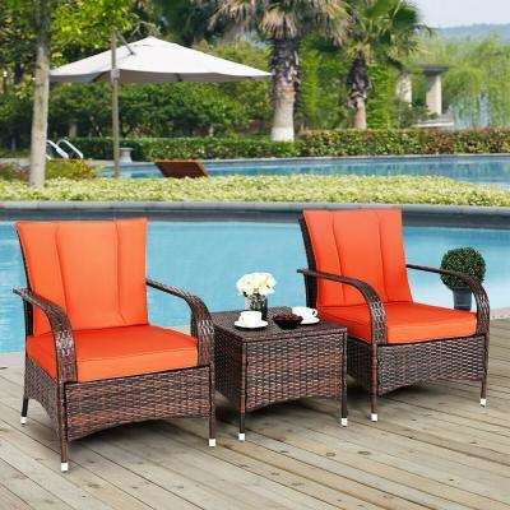 3-Piece Outdoor Patio Mix Brown Rattan Wicker Furniture Patio Conversation Set with Orange Cushions