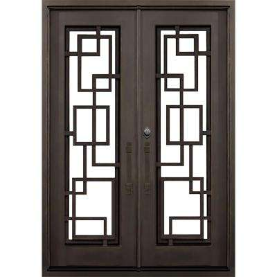 64 in. x 82 in. St.Andrews Flat Top Dark Bronze Full Lite Painted Wrought Iron Prehung Front Door (Hardware Included)