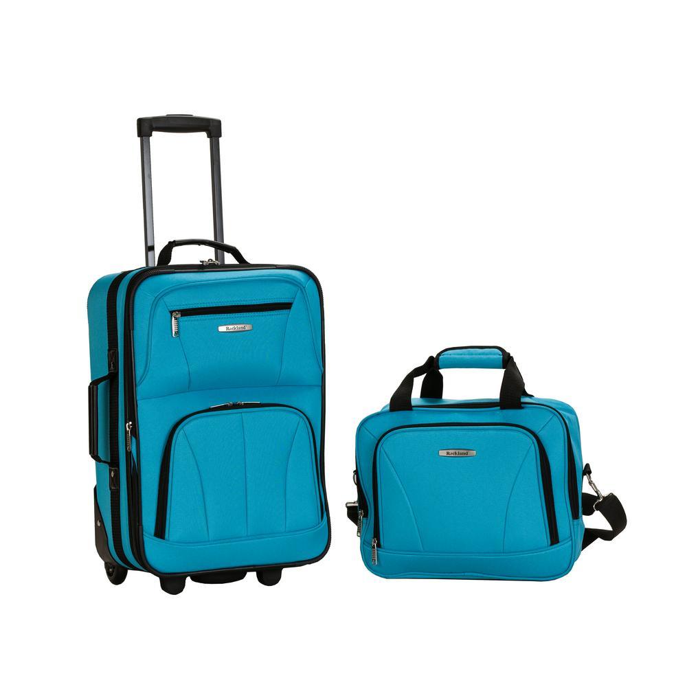 Rockland Rio Expandable 2-Piece Carry On Softside Luggage Set, Turquoise