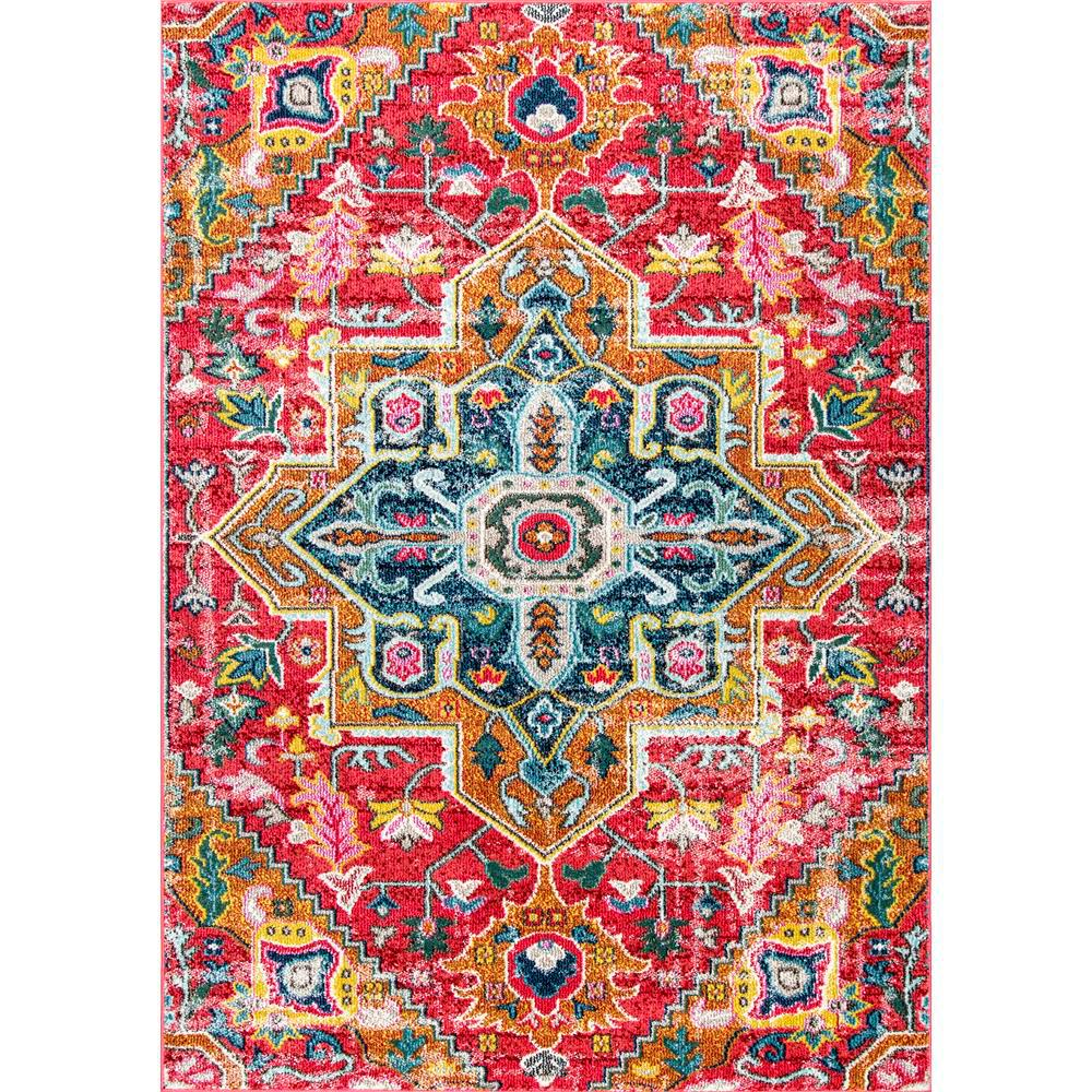 nuLOOM Floral Medallion Lester Red 9 ft. x 12 ft. Area Rug