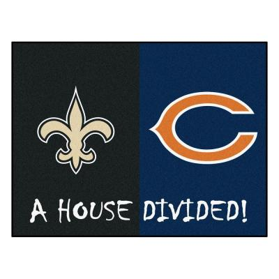 NFL House Divided - New Orleans Saints/Chicago Bears 33.75 in. x 42.5 in. House Divided Mat Area Rug