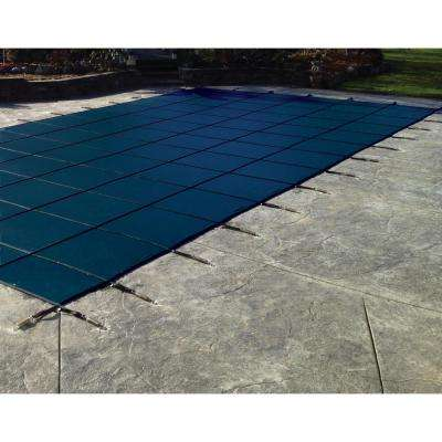 16 ft. x 32 ft. Rectangle Blue Solid In-Ground Safety Pool Cover Left Side Step