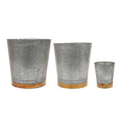 Galvanized Metal Bucket with Copper Band (Set of 3)