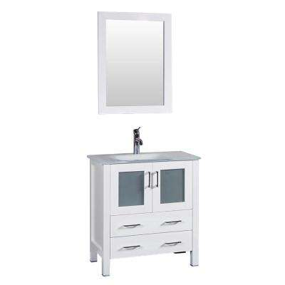 30 in. W Single Bath Vanity in White with Tempered Glass Vanity Top with White Basin and Mirror