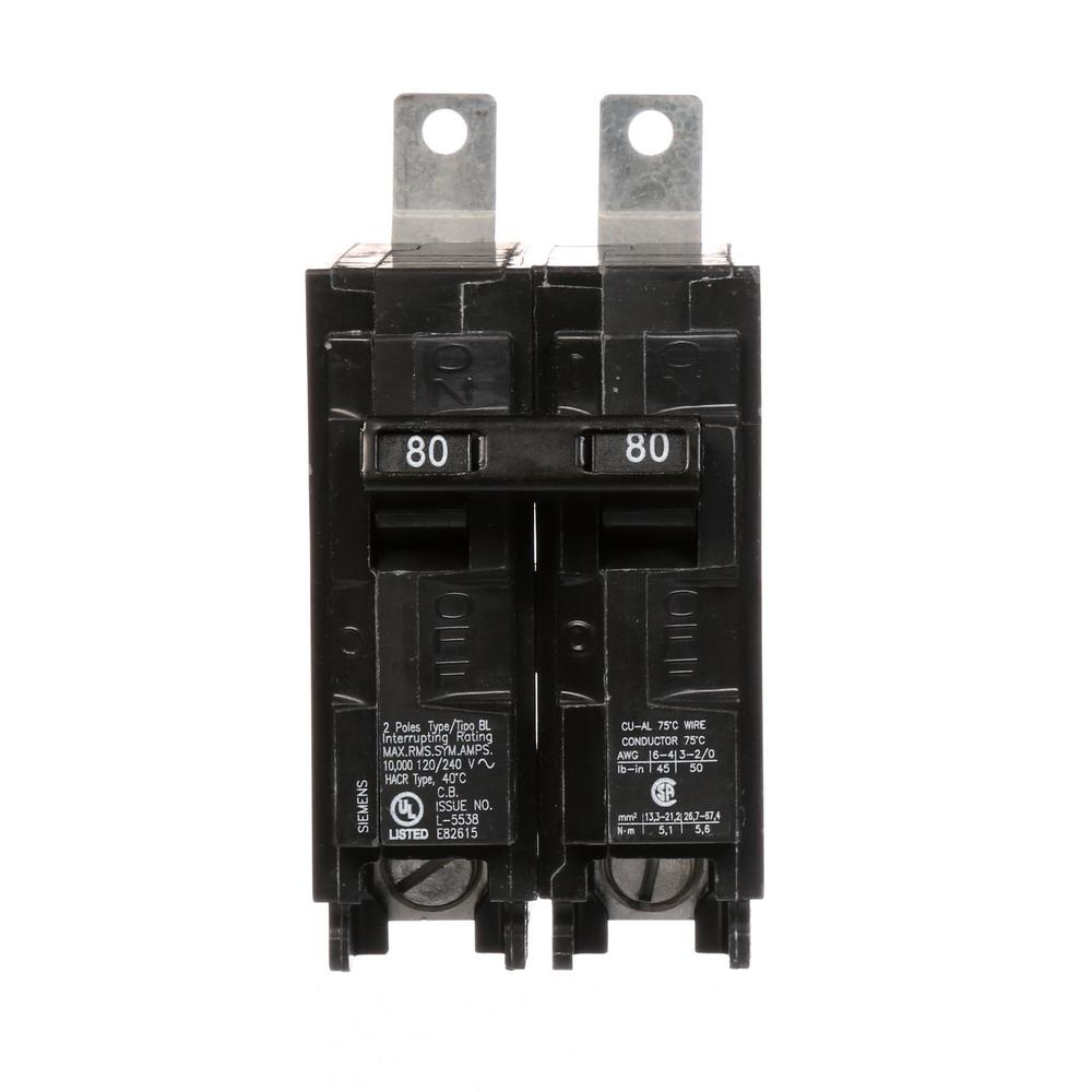 siemens 80 amp 2 pole type bl 10 ka circuit breaker b280 the home depot. Black Bedroom Furniture Sets. Home Design Ideas
