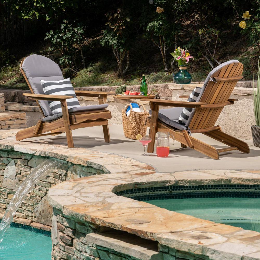 Noble House Malibu Natural Brown Folding Wood Adirondack Chairs with Gray Cushions (2-Pack)